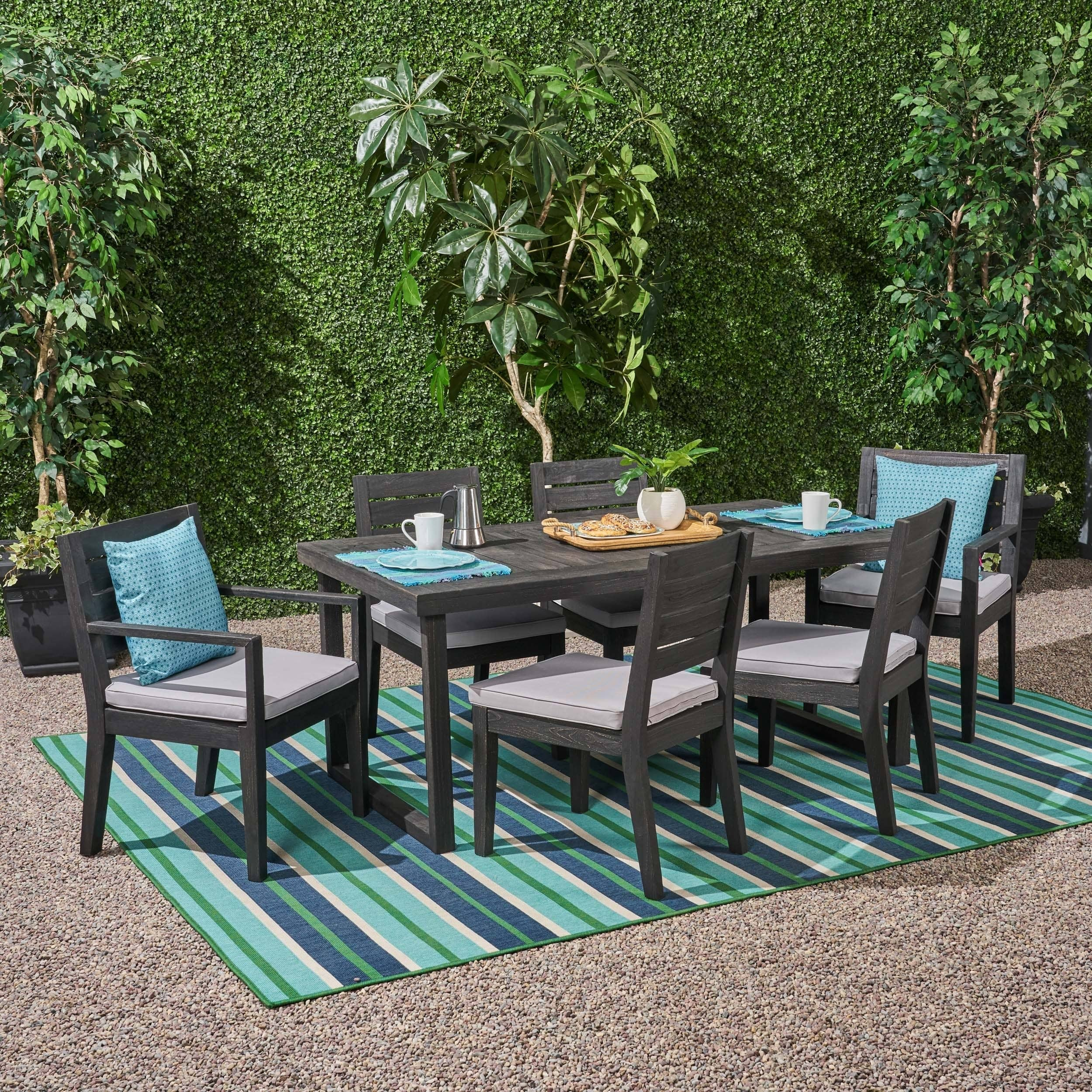 eb95c7b524 Christopher Knight Home Nestor Outdoor 6-Seater Acacia Wood Dining Set by -  Walmart.com