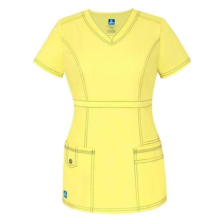 ccb794c1b1c ADAR UNIFORMS - Adar Pop-Stretch Junior Fit Womens Princess V-neck Top -  3232 - Citron - S - Walmart.com