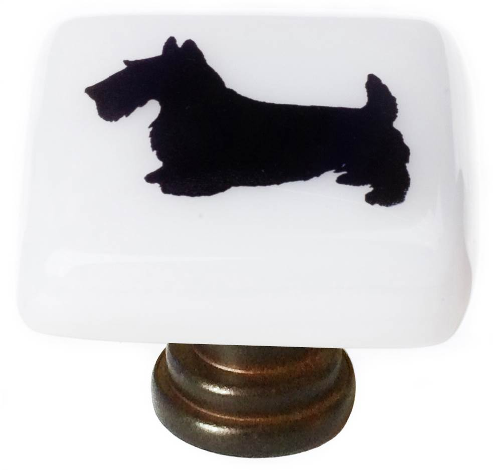 Scottie Dog Square Knob in Oil Rubbed Bronze Finish
