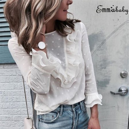 Fashion Women Loose Long Sleeve Ruffle Frill Tops Solid Casual Blouse T-Shirt - Frill Sleeve Top