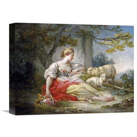 Global Gallery 'Shepherdess Seated with Sheep and a Basket of Flowers Near a Ruin in a Wooded Landscape' by Jean Honore Fragonard Painting Print on Wrapped Canvas