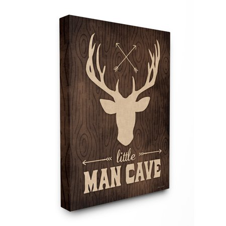 The Kids Room by Stupell Little Man Cave Moose Wood Grain XXL Stretched Canvas Wall Art, 30 x 1.5 x 40