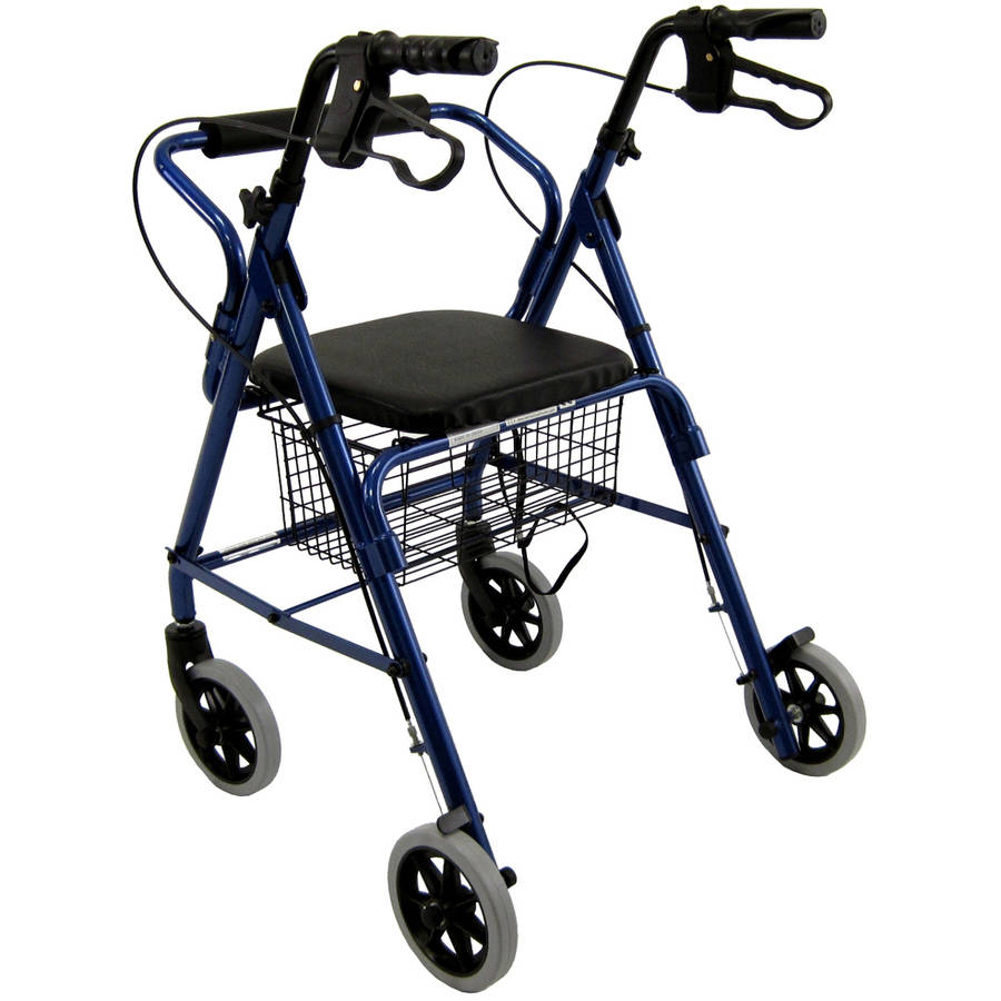 Karman R-4100 Junior Low Seat Hemi Rollator with Seat and Basket, Blue
