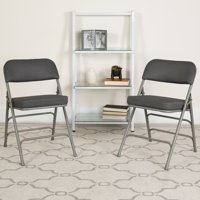 Flash Furniture 2pk HERCULES Series Premium Curved Triple Braced & Double Hinged Pin-Dot Fabric Upholstered Metal Folding Chair, Multiple Colors