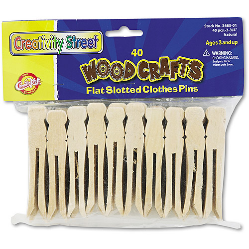 "Creativity Street Flat Wood Slotted Clothespins, 3-3/4"" Length, 40 Clothespins/Pack"