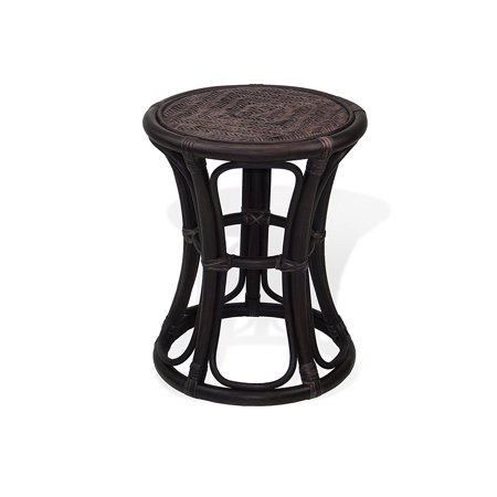 Natural Rattan - SK New Interiors Breeze Natural Rattan Wicker Stool Plant Stand ECO Handmade Design, Dark Brown
