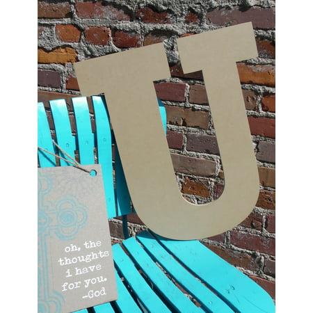 Wooden Letter, Unpainted Wood Craft Letter, 12'' U Rockwell](Letter U Craft)