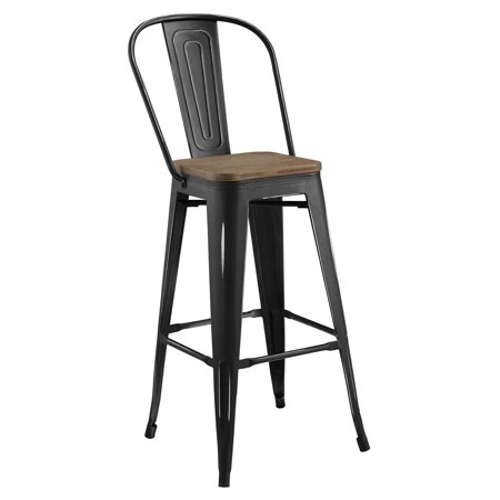 Industrial Country Cottage Farm Beach House Bar Pub and Dining Kitchen Bar Side Stool Chair, Metal Steel Wood, Black