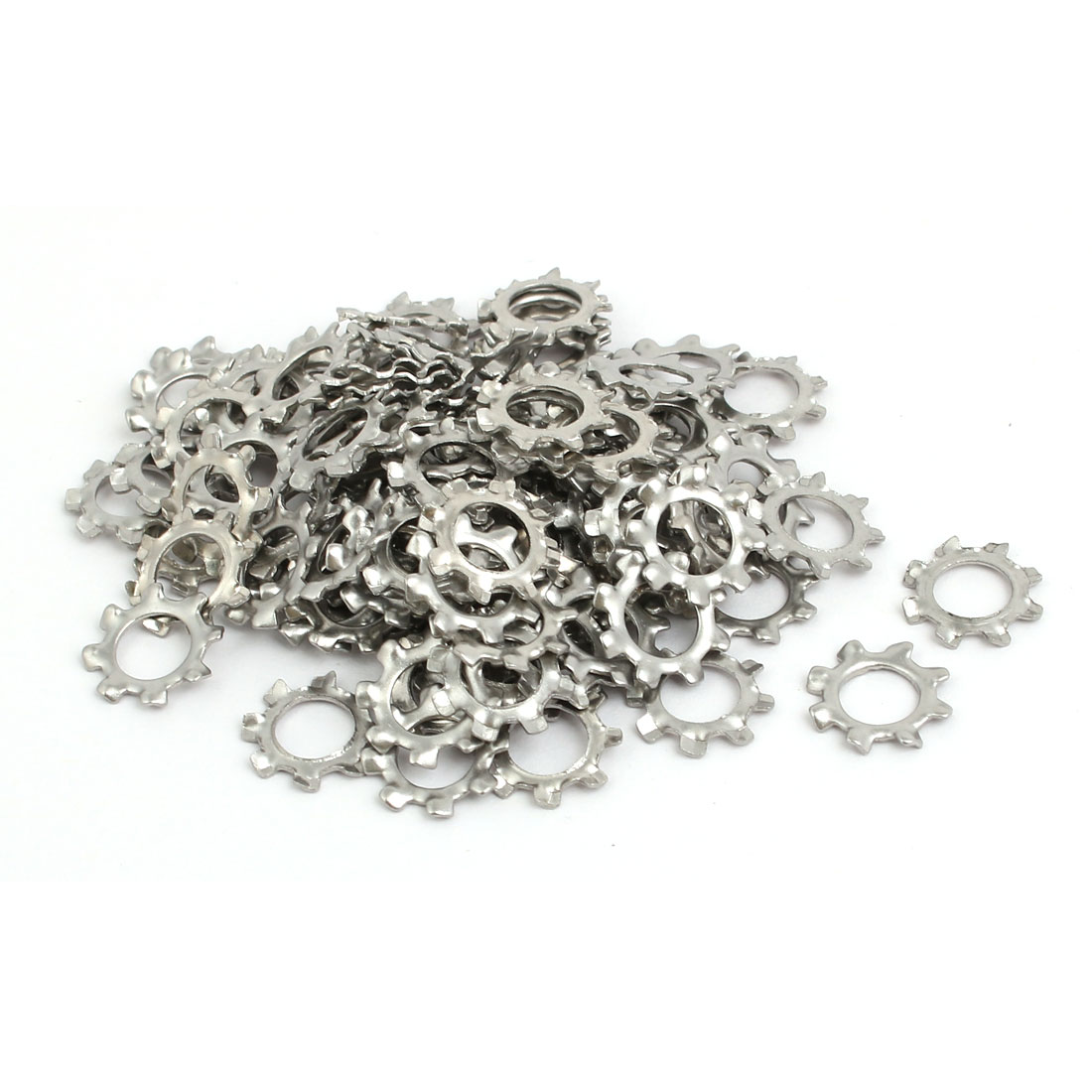 6mm Inner Dia Stainless Steel External Tooth Lock Washer Silver Tone 100pcs