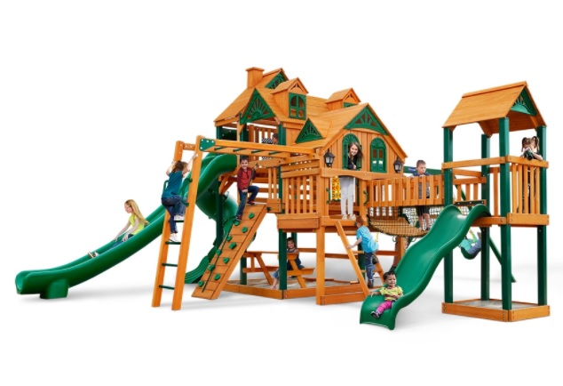 Gorilla Playsets Empire Extreme with Timber Shield Swing Set & Trapeze Swing by