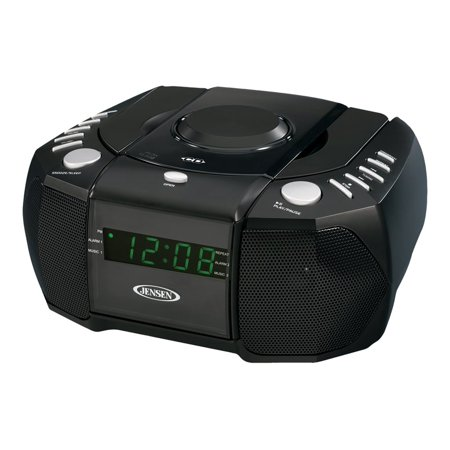 jensen jcr 310 dual alarm clock am fm stereo radio with top loading cd player. Black Bedroom Furniture Sets. Home Design Ideas