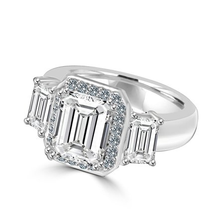 2 CT. Emerald Cut Center with Two side Baguette Simulated Diamond - Vintage Sterling Silver - Simulated Diamond Vintage Ring