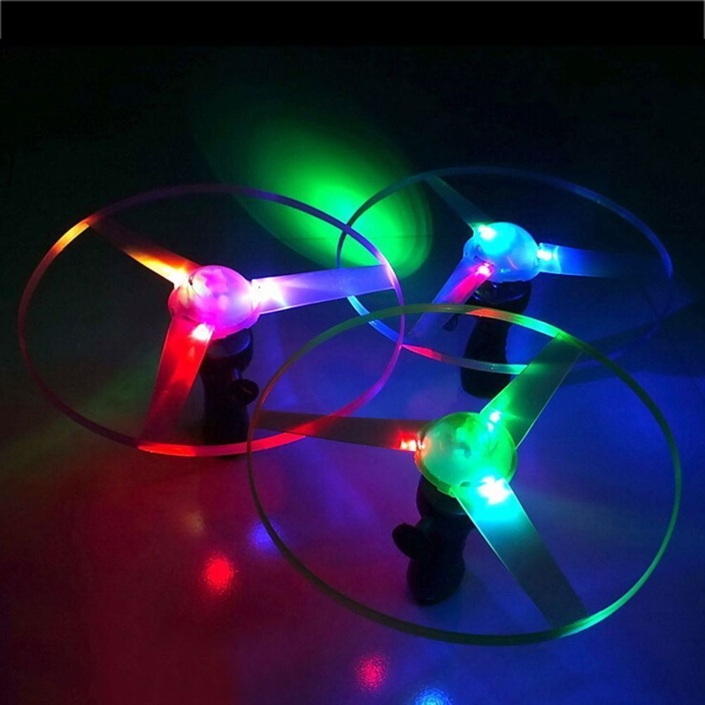Funny Colorful Pull String LED Light Up Frisbee Flying Saucer Disc Kids Toy -3 Pieces