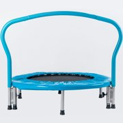 Mini Kids Trampoline, 2021 Upgraded 36.6'' Folding Round Trampoline with Handrail and Safety Cover, Indoor Little Tikes Toddler Toys Trampoline Activity Center for Kids Jump Sports, Blue, S6156