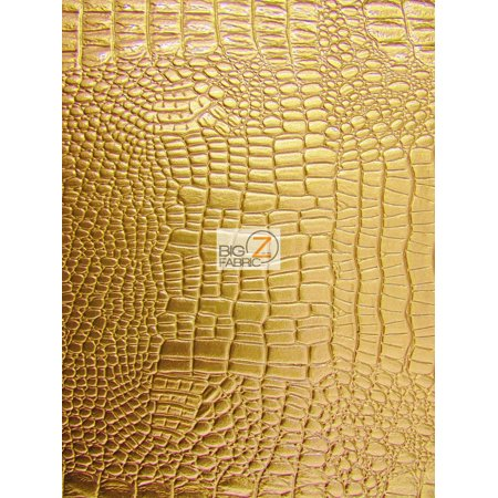 Vinyl Faux Fake Leather Pleather Embossed Shiny Amazon Crocodile Fabric / Gold / Sold By The Yard