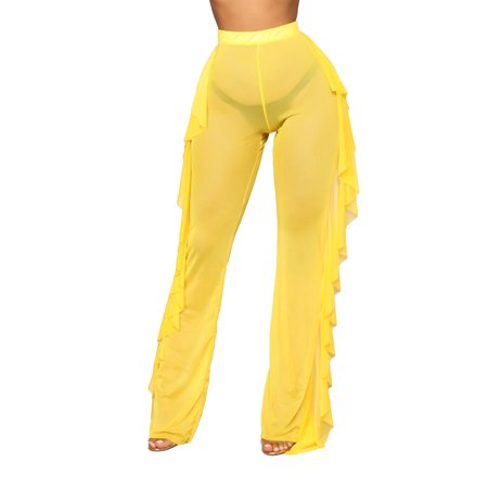 Women Sexy See Through Sheer Mesh Ruffle Pants Perspective Swimsuit Bikini Bottom Cover up Party Clubwear Pants