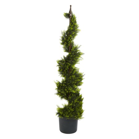 Nearly Natural Cypress Spiral Silk Tree, 4 ft.