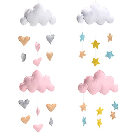 Baby All Stars Wall Hanging (Cloud Love Heart Baby Nursery Mobile Wall Hanging Decor Shower Gift White )