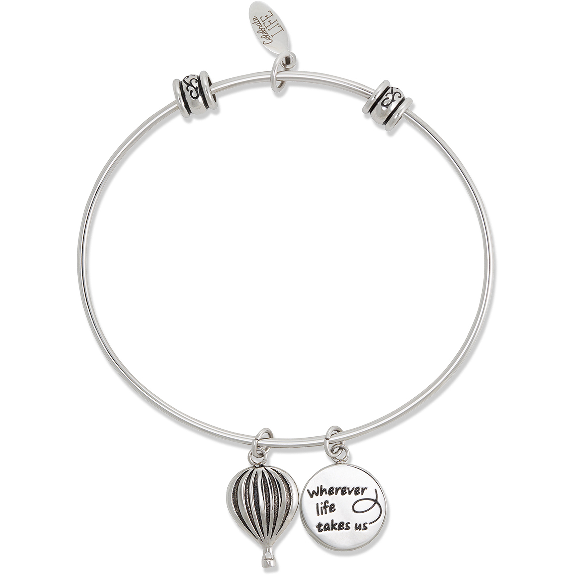 """Connections from Hallmark Stainless Steel """"Wherever Life Takes Us"""" and Hot Airballon Multi-Charm Bangle"""
