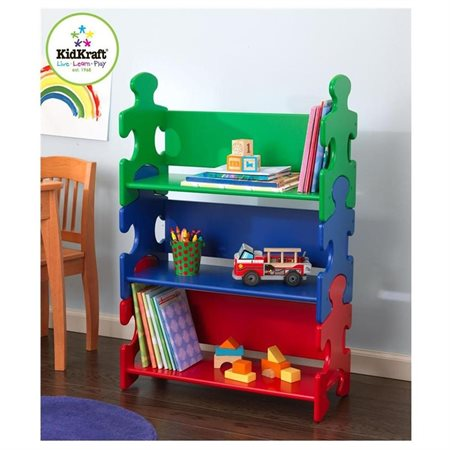KidKraft Wooden Puzzle Piece Bookcase with Three Shelves - Pastel