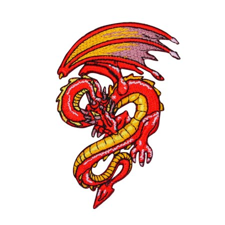 Red Flying Dragon Patch Fantasy Serpent Mystical Embroidered Iron On (Embroidered Dragon Patches)