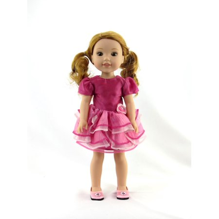 Pink Tiered Dress-Fits 14 Inch Wellie Wisher Dolls | 14 Inch Doll