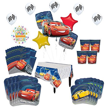 Disney Cars Birthday Party Supplies 8 Guest Kit and Balloon Bouquet Decorations 52 pc (Disney Cars Party Decoration Ideas)