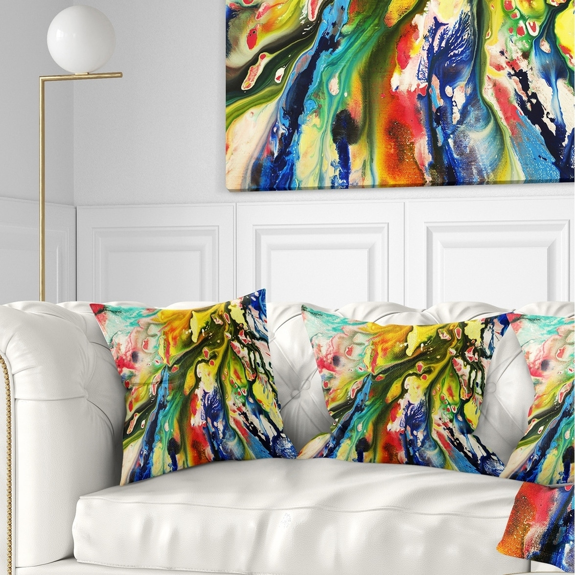Design Art Designart Mixed Oil Color Texture Abstract Throw Pillow Walmart Com Walmart Com