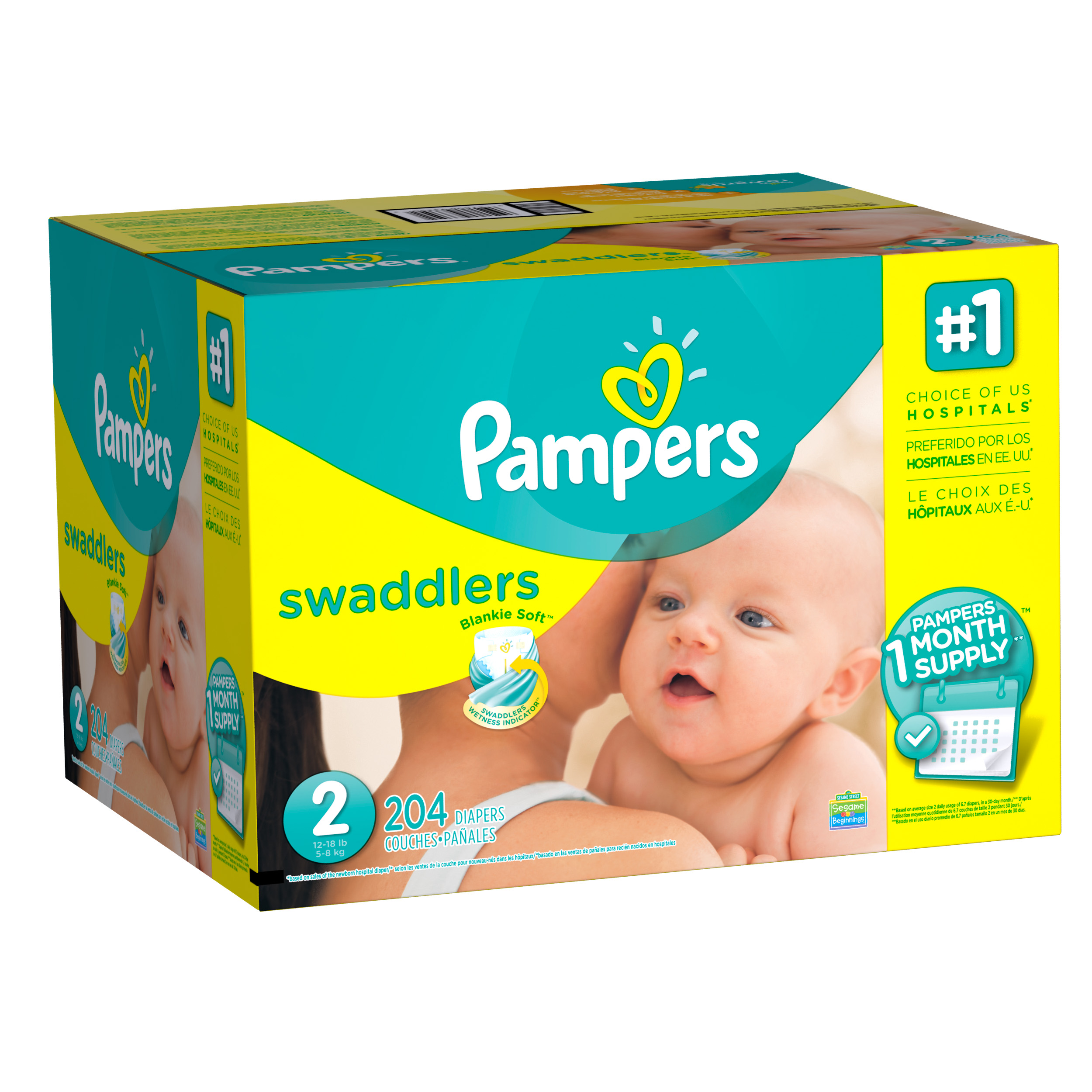 Pampers Swaddlers Diapers, Size 2, 204 Diapers