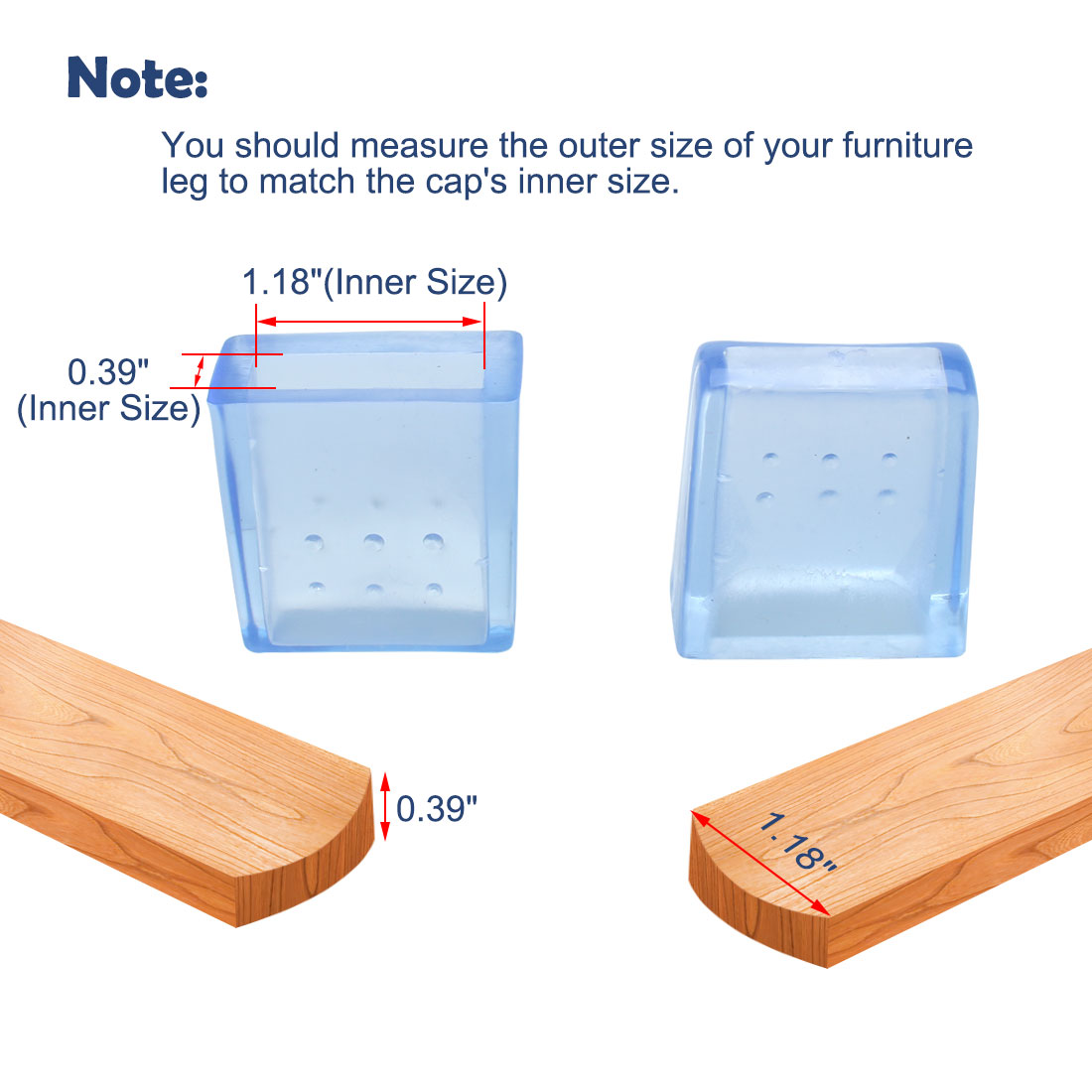 "Clear Blue Sofa Leg Caps End Tip Feet Furniture Protector 6pcs 0.39""x1.18"" (10x30mm) - image 6 of 7"