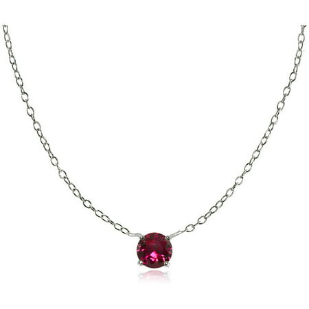 Round Created Ruby Sterling Silver Small Dainty Choker Necklace Dainty Sterling Silver Necklace