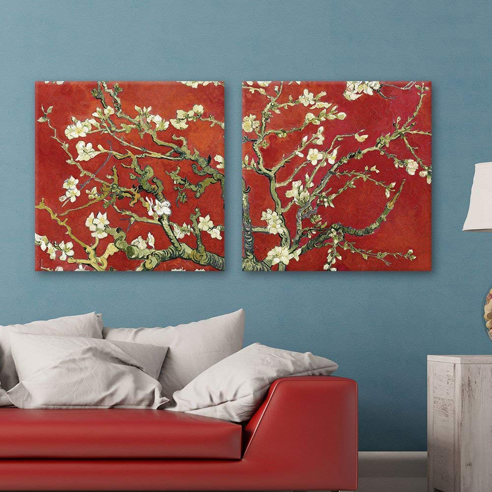 "wall26 2 Panel Square Canvas Wall Art - Almond Blossom in Red by Vincent Van Gogh - Giclee Print Gallery Wrap Modern Home Decor Ready to Hang - 16""x16"" x 2 Panels"