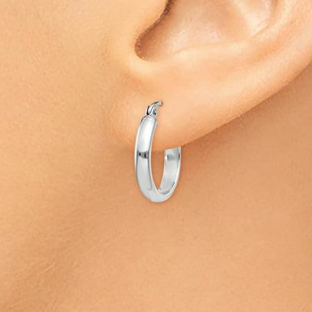14K White Gold Round Tube Hoop Earrings - image 3 de 4