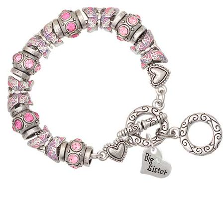 Silvertone Small ''Big Sister'' Heart with Clear Crystal Pink Butterfly Bead Charm