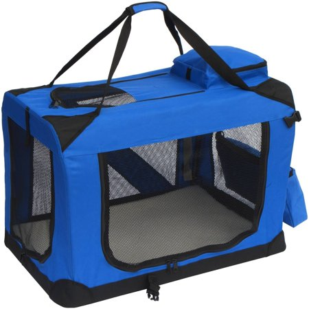 ALEKO PCBLUE02L Large Collapsible Pet Carrier Heavy Duty Portable Pet Home Spacious Traveler with Soft Cozy Insert Mat, Blue