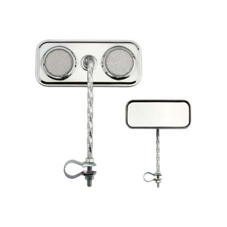 Two Rectangle Twisted Mirrors Chrome Clear Reflectors. Set of bike mirrors. Pair of bicycle mirrors. 2 bike Mirrors.