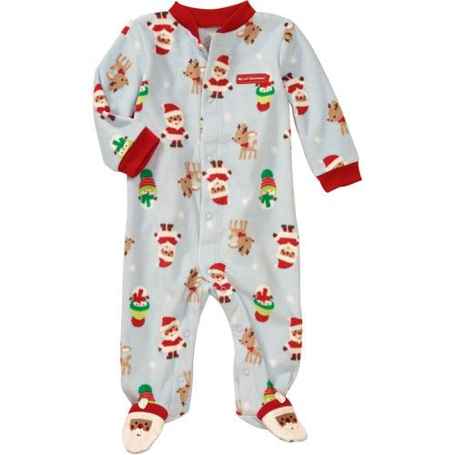Child of Mine Carters Newborn Boys' Santa Fleece Sleep n Play Jumpsuit