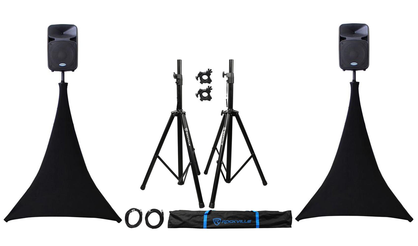 (2) Rockville Speaker Stands + XLR Cables + Scrim Werks SWLTPSBLK Black Cover x2 by ROCKVILLE