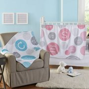 Personalized Polka Dot Birth Info Plush Blanket, Available in 2 Colors
