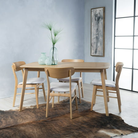 Noble House Harper Natural Walnut Wood Light Beige 5 Piece Dining Set Creek House 2 Piece