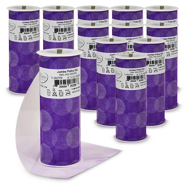"Expo Int'l Value Pack of 12 6"" Jumbo Polka Dot Tulle Spool of 10 yards"