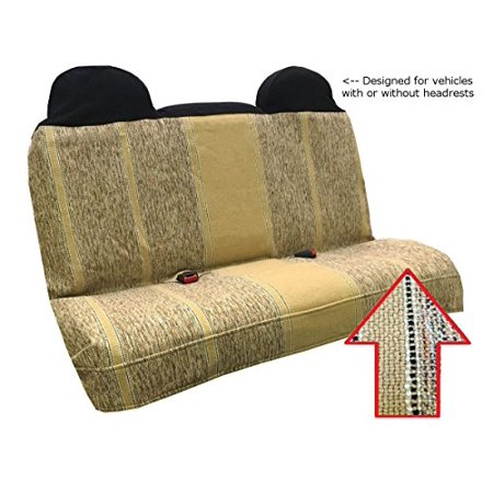 Saddle Blanket Bench Seat Cover  Baja Woven Design   Universal Fit For Chevrolet  Ford  Dodge  Toyota  Jeep Cars And Trucks  Tan