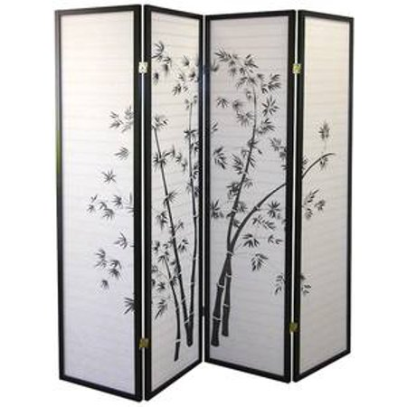 Legacy Decor Black 4 Panel Japanese Oriental Style Bamboo Design Wood Shoji Screen Room (Oriental Wood Screen)