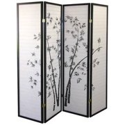 Legacy Decor Black 4 Panel Japanese Oriental Style Bamboo Design Wood Shoji Screen Room Divider