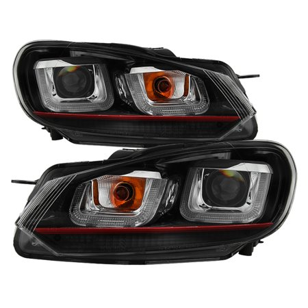Gti Projectors (Spyder Volkswagen Golf / GTI 10-13 Version 3 Projector Headlights - Halogen Model Only ( Not Compatible With Xenon/HID Model ) - Dual U DRL - Black )