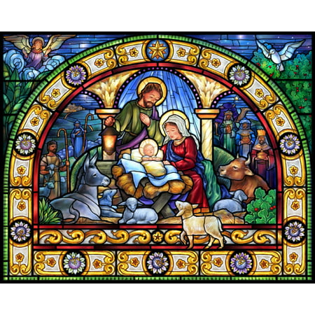 Vermont Christmas Company Stained Glass Holy Night - 1000 Piece Jigsaw (Jigsaw Glasses)