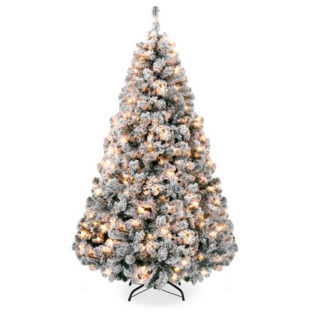 Best Choice Products 7.5ft Pre-Lit Snow Flocked Hinged Artificial Christmas Pine Tree Holiday Decor with 550 Warm White (White Christmas Tree Lights With White Cord)