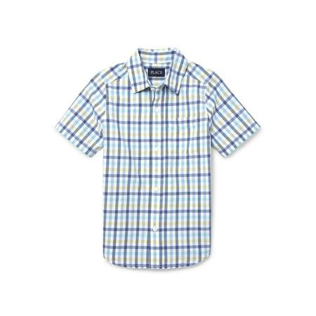 Little Me Plaid Dress Shirt - The Children's Place Short Sleeve Button Up Plaid Shirt (Little Boys & Big Boys)