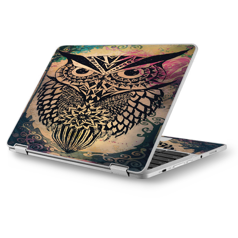 "Skins Decals for Asus Chromebook 12.5"" Flip C302CA Laptop Vinyl Wrap / Tribal Abstract Owl"