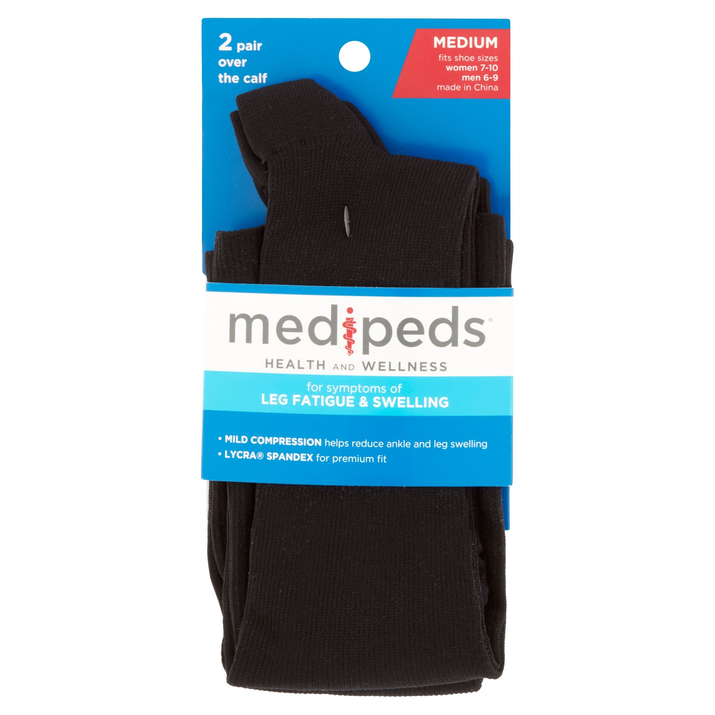 MediPeds Over the Calf Compression Socks, Medium, 2 Ct